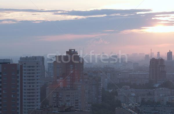 Amanecer ciudad azul gris Foto stock © d13