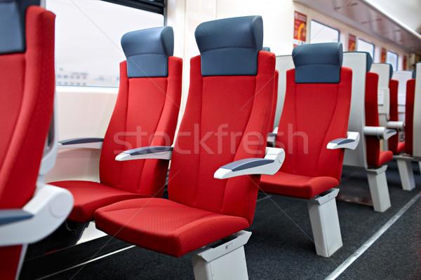Moderna tren interior vista rojo Foto stock © d13
