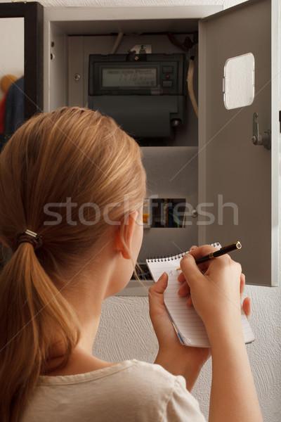 Fiatal nő elektomos otthon Oroszország monitor ír Stock fotó © d13