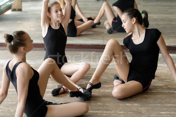 Three ballet dancers on the floor Stock photo © d13