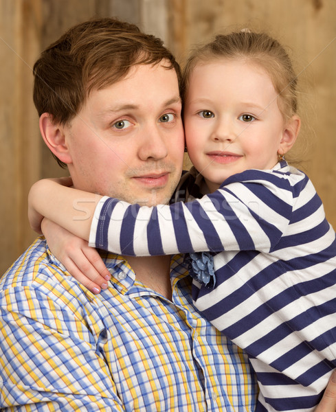 Portrait of father and beautiful little daughter Stock photo © d13