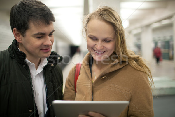 подземных счастливым молодые люди станция Сток-фото © d13