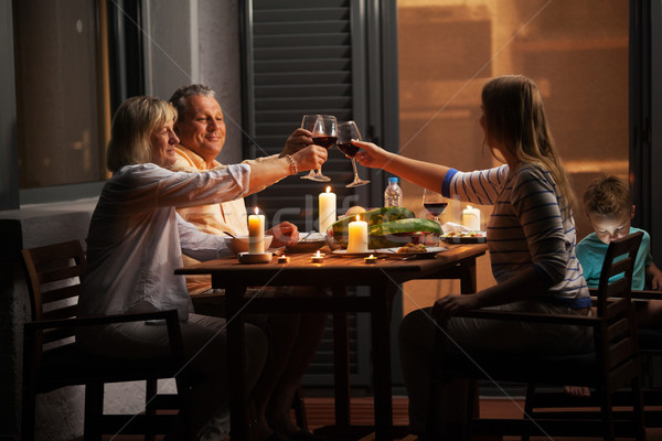 Stock photo: Quiet family dinner in the backyard