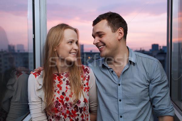 Fiatal pér erkély néz egyéb fiatalember nő Stock fotó © d13