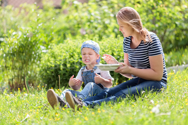 Cute little boy being fed outdoors on the grass Stock photo © d13