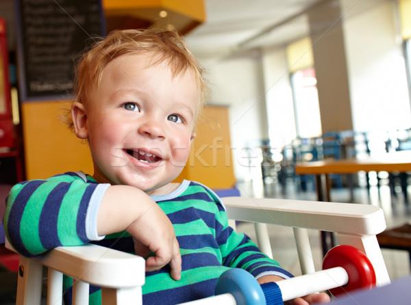 子 レストラン かわいい 少年 ランチ ストックフォト © d13