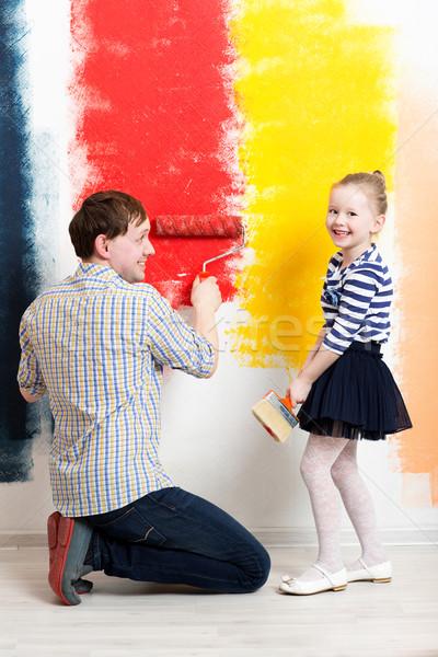 幸せな女の子 絵画 壁 父 幸せ 娘 ストックフォト © d13