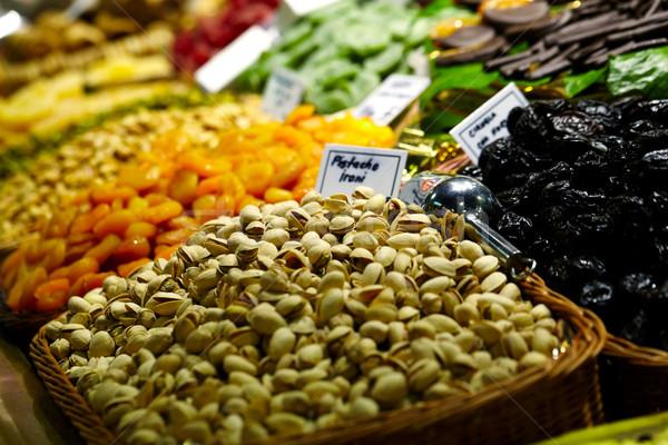 Pisztácia LA piac Barcelona Spanyolország szín Stock fotó © d13