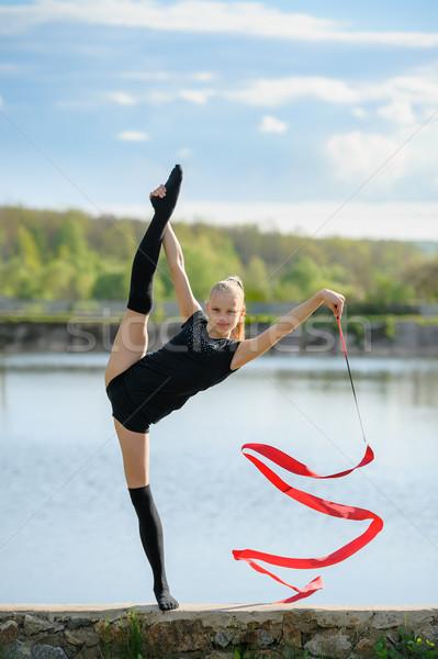 代 体操選手 垂直 笑みを浮かべて リズミカルな リボン ストックフォト © d13
