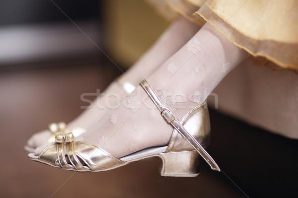 девушки элегантный золото сандалии Сток-фото © d13