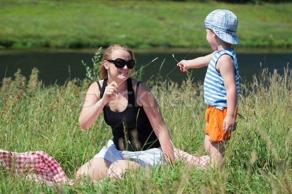 母親 演奏 草 草原 幸せ ストックフォト © d13