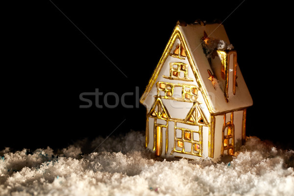 Little toy house covered with artificial snow. Stock photo © d13