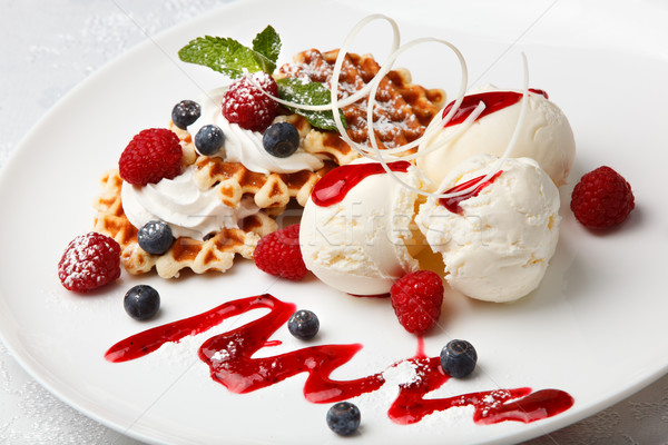 Vanilla ice cream and waffles with fresh berries Stock photo © d13
