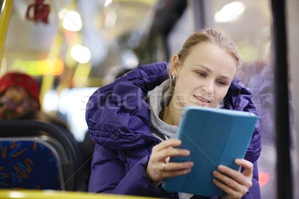 женщину touchpad автобус Purple куртка Сток-фото © d13