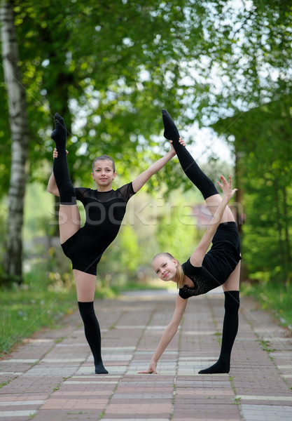 Two Teen Rhythmic Gymnasts Stock photo © d13