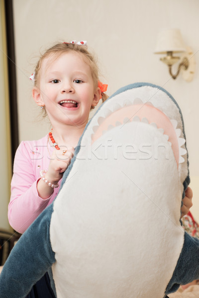 Girl Playing with Plush Toy Stock photo © d13