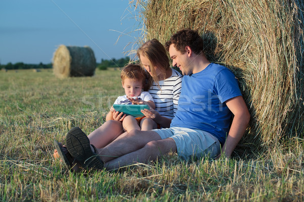 Család három mező széna tekercsek anya Stock fotó © d13
