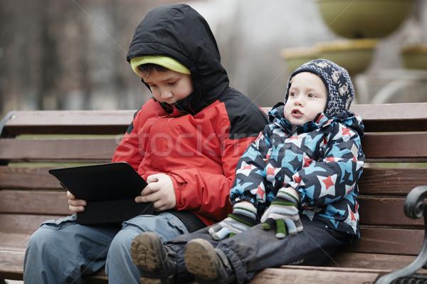 Broers jonge zitten samen houten Stockfoto © d13