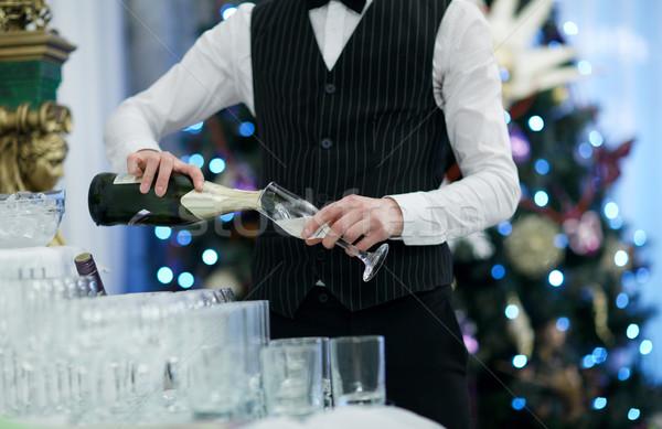 De ober bril champagne partij feestelijk Stockfoto © d13