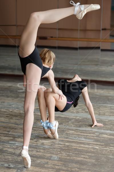Two ballerinas rehearsing in the studio Stock photo © d13