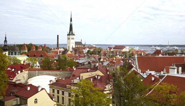 Tallinn Estland luchtfoto oude binnenstad hemel voorjaar Stockfoto © d13