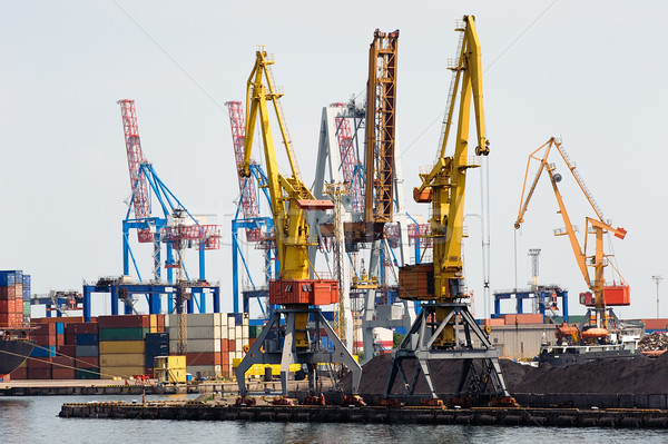 Industrial cranes and cargo on a quay Stock photo © d13