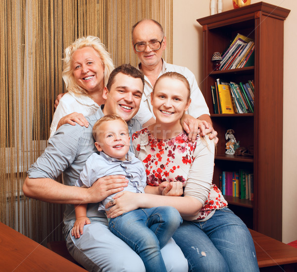 Big happy familу at home Stock photo © d13