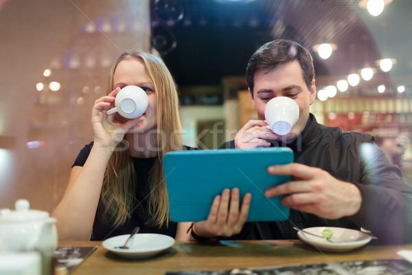 男 女性 飲料 コーヒー スマート ストックフォト © d13