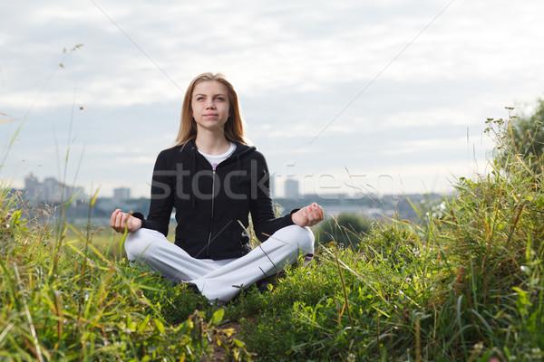 若い女の子 ヨガ 屋外 小さな 白人 少女 ストックフォト © d13
