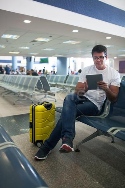 молодым человеком Touch аэропорту Lounge сидят Сток-фото © d13