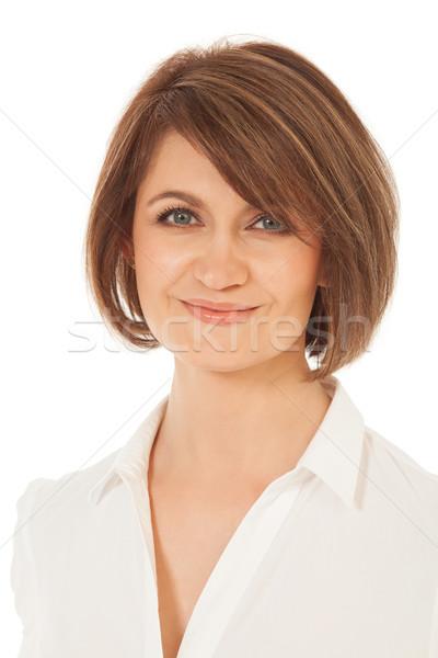 Primer plano hermosa adulto mujer sonriente cámara sonriendo Foto stock © d13