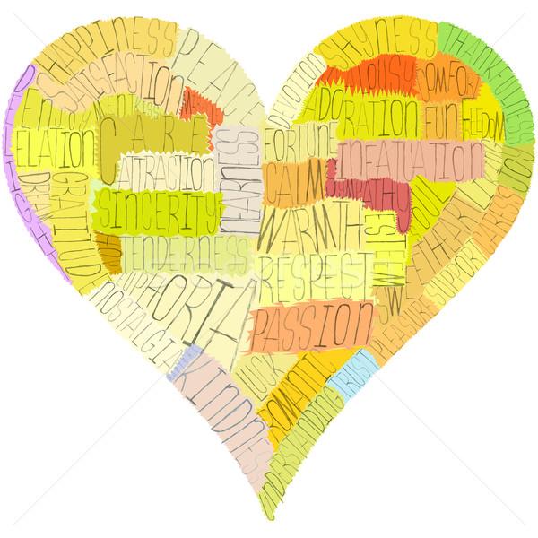 Valentijnsdag hart woorden liefde psychologie passie Stockfoto © d13