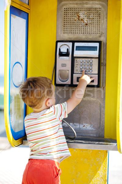 Praten telefoon kraam Geel telefoon Stockfoto © d13