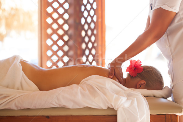 Woman relaxing with body massage at beauty spa Stock photo © d13