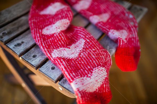 Rood sokken hart patroon houten stoel Stockfoto © d13