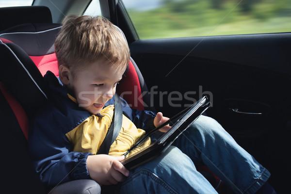 Dziecko samochodu podniecony mały chłopca Zdjęcia stock © d13