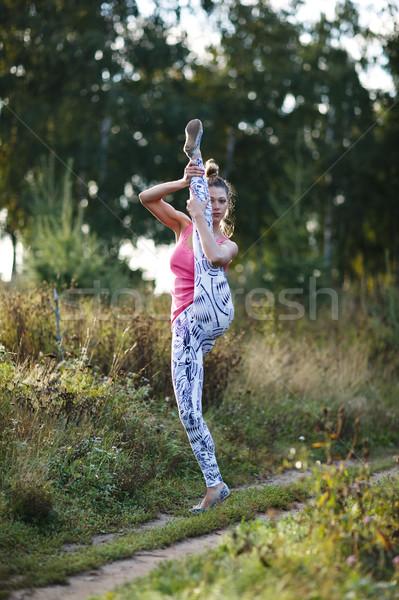 アスレチック 若い女性 国 バランス ストックフォト © d13