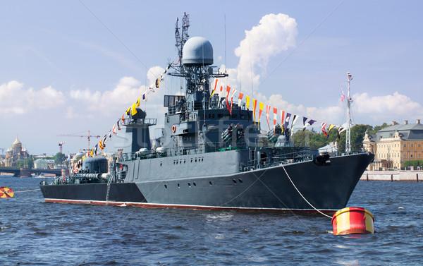 Military ship on Neva river, St. Petersburg Stock photo © d13