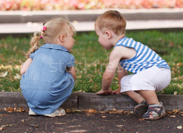 Little friends boy and girl Stock photo © d13