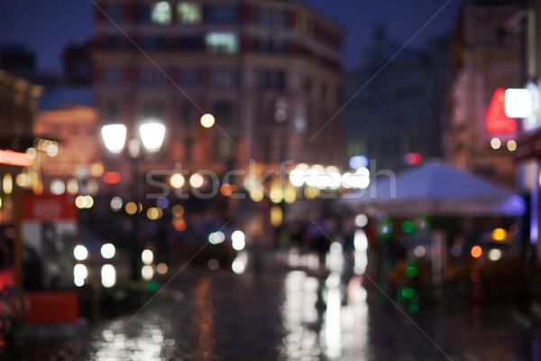 ぼやけた 景観 雨の ショット 街 ストックフォト © d13