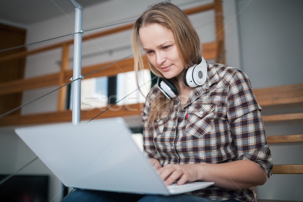 Having good free time with laptop at home Stock photo © d13