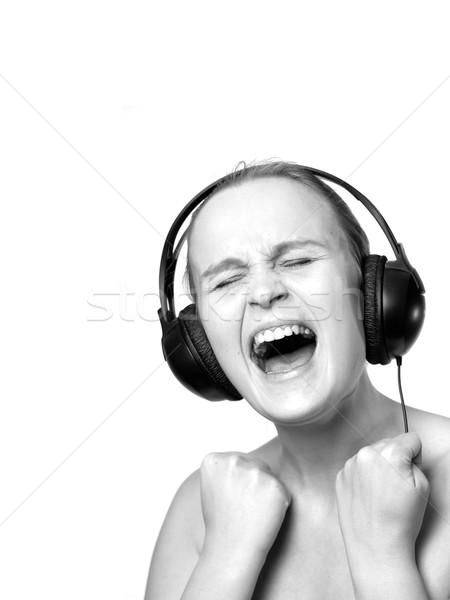 Meisje huilen geïsoleerd witte extra exemplaar ruimte Stockfoto © d13