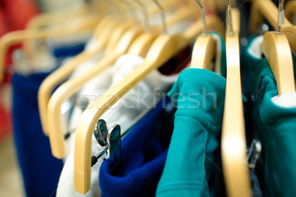 Hangers in the clothing store. Stock photo © d13