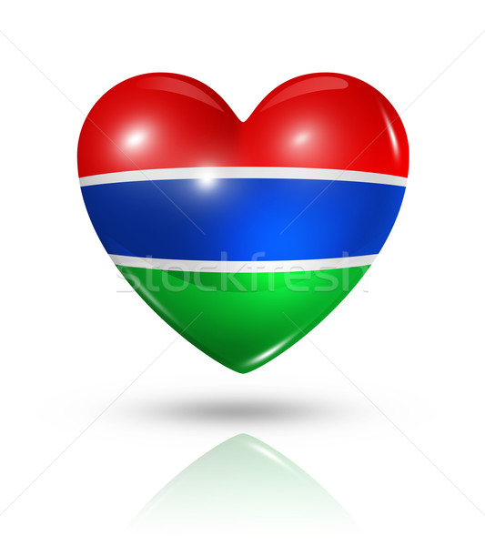 Love Gambia, heart flag icon Stock photo © daboost
