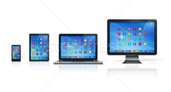 Computer ingesteld 3D smartphone digitale Stockfoto © daboost