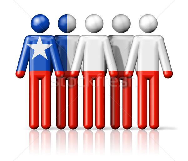 Zászló Chile pálcikaember társasági közösség szimbólum Stock fotó © daboost