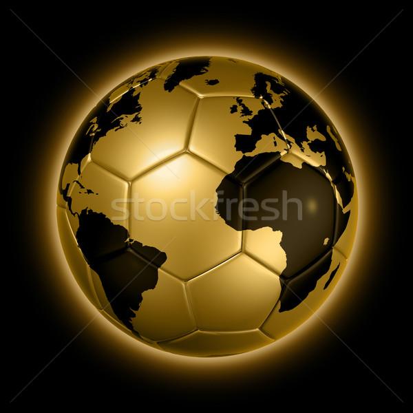 Goud voetbal voetbal bal wereld wereldbol Stockfoto © daboost