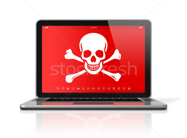 Laptop with a pirate symbol on screen. Hacking concept Stock photo © daboost