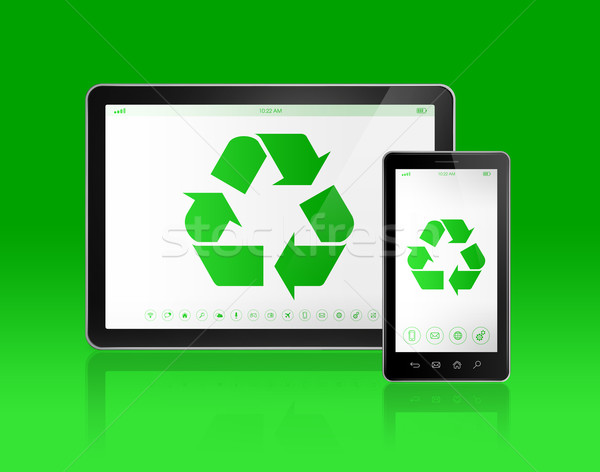 Digitale recycling symbool scherm ecologisch Stockfoto © daboost