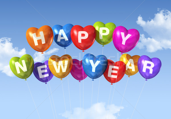 Stock photo: happy new year heart shaped balloons